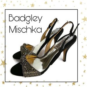 Badgley Mischka Black Beaded Slingback Heels 7.5
